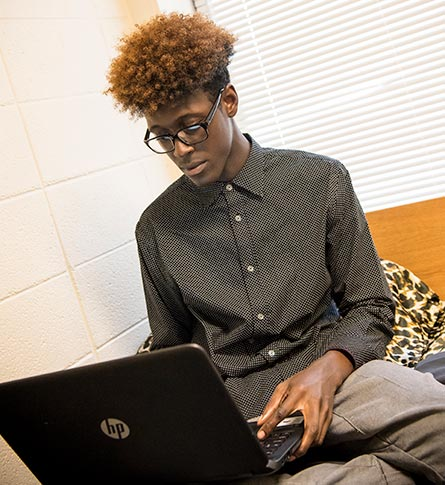 Student on a computer