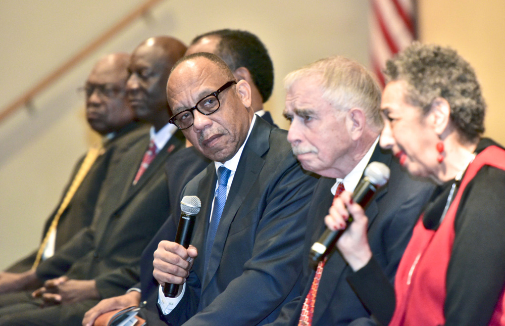 Pulitzer-prize winning columnist Eugene Robinson, center, serves as the moderator for a forum on race relations at Clalfin's W.V. Middleton Fine Arts Center. (Courtesy of The Times and Democrat)