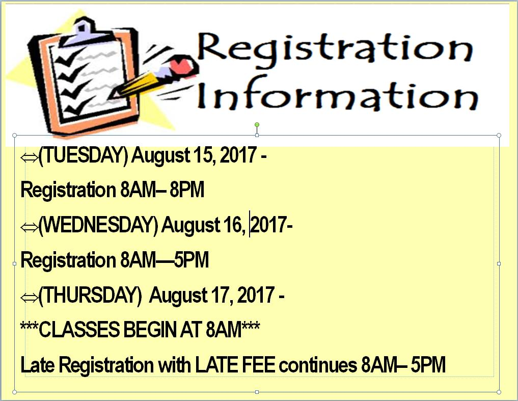 Fall Registration 2017